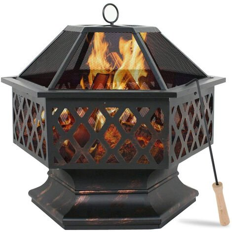 Firepit Hexagon Patio BBQ Brazier 64*61*61CM