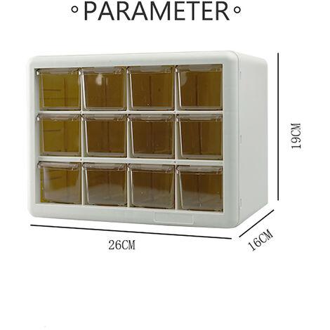DIY Box Case Drawer Parts Storage Unit Organiser Cabinet White 12 cells
