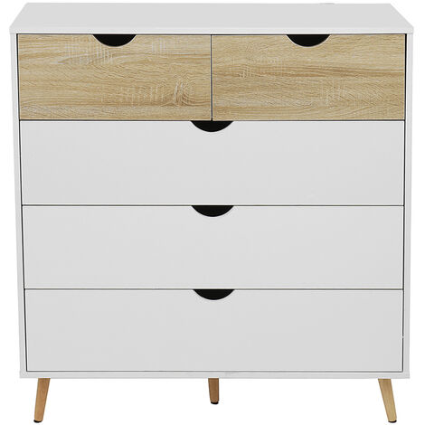 Chest of Drawers 5 Drawers Bedside Cabinets 101*39*99CM White+Walnut