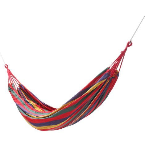 Portable Outdoor Camping Leisure Hanging Bed Canvas Swing Drawstring Hammock red No Mosquito Net