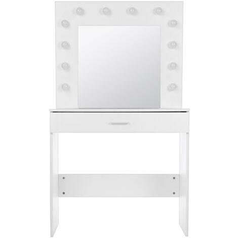 Makeup Desk Dressing Table w/LED Lighted Mirror+Drawer+Stool White