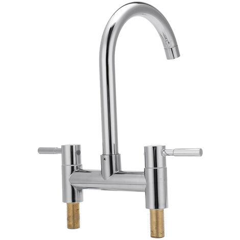 Modern Kitchen Sink Mixer Tap Chrome Monobloc Basin Twin Lever Taps Swivel 360¡ã