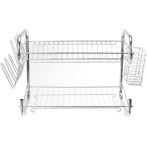 Multifunctional 2 Layer Tier Stainless Steel Dish Drainer Cutlery Holder Rack Drip Tray Kitchen Tool silver 43*24*36CM