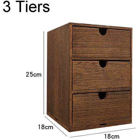 3 Tiers Drawer Wooden Storage Organizer Desktop Decorative Cabinet Boxes 18x18x25CM