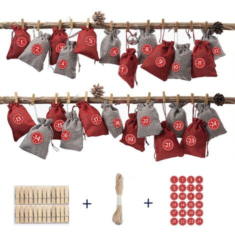 Christmas Decoration for Home Date 1-24 Fabric Drawing Bags Christmas Advent Calendar Garland Wall Door Hanging Ornaments