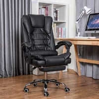 Executive High Back Office Chair Gaming Chair Recliner PU Leather Black