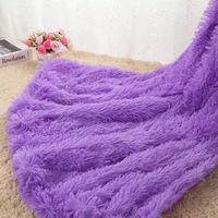 Blanket Large Soft Warm Fur Shaggy Fluffy Throw Plush Home Sofa bed Winter Plus 130 * 160cm Purple