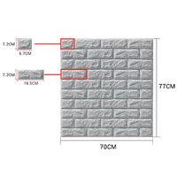 Large 3D Tile Brick Wall Sticker Self-adhesive Waterproof Foam Panel Wallpaper(grey)