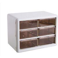 DIY Box Case Drawer Parts Storage Unit Organiser Cabinet White 6 cells