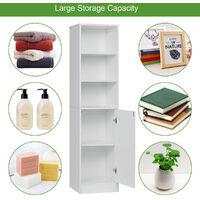 Tall Bathroom Cabinets Freestanding 1 Door 5 Shelves 160cm White