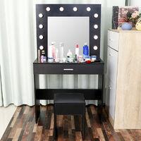 Makeup Desk Dressing Table w/LED Lighted Mirror+Drawer+Stool Black
