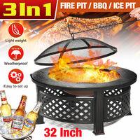 3 in 1 Fire Pit Patio BBQ Brazier Garden Fireplace Heater 81X46cm