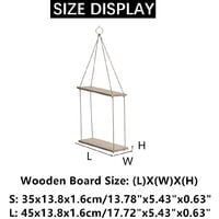 2 Layers Solid Wood Rope Hanging Wall Shelf Vintage Floating Storage Rack L 45x13.8x1.6cm
