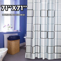 72x72in Waterproof Shower Curtain Bathroom Curtains Drapes With 12 Hooks