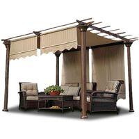 Patio Canopy Awning Sun Shade Pergola Cover Garden Shelter (beige)