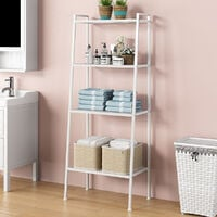 4-Tier Bookcase Storage Ladder Bookshelf Leaning Wall Shelf Shelving White