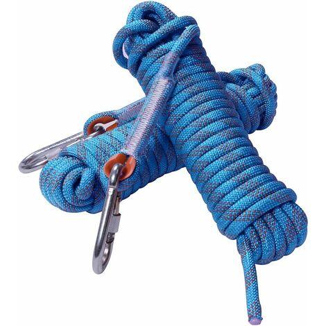Corde d'escalade, 12 mm de diamètre, Accessoires de randonnée, Corde de sécurité Haute résistance  (30 m bleu)