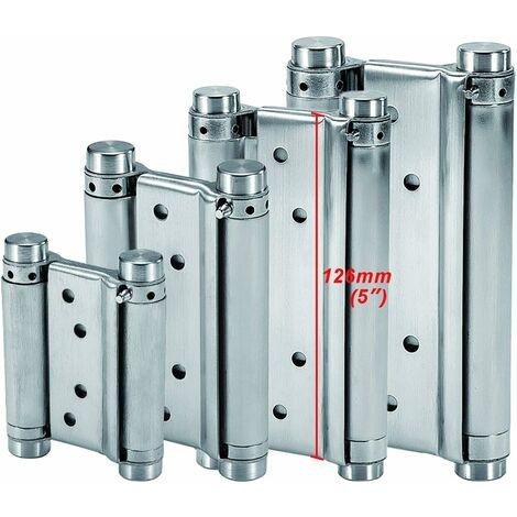 Charnières à Ressort (126mm) en Acier Inox à Double Action pour Portes Battante Charnière Fermeture Automatique pour Saloon Café Bar Pub Comptoir Porte Placard Jusqu'à 25kg (2 PCS)