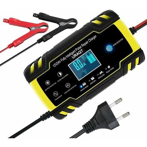 Chargeur de batterie de voiture, chargeur de batterie de voiture 8A 12V / 24V Entièrement automatique avec écran LCD, chargeur d'entretien intelligent pour voitures, motos, tondeuses à gazon ou bateaux