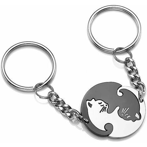 Couples porte-clés ensemble, en acier inoxydable Puzzle partenaire chat porte-clés porte-clés pour hommes femmes
