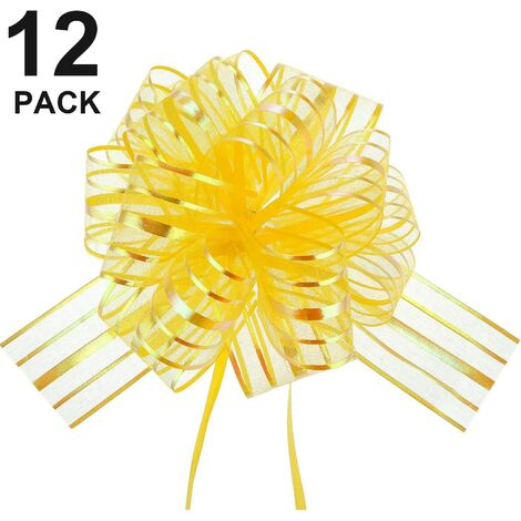 12 pièces Pull Bow grand Organza Pull Bow Gift Wrap Pull Bow avec ruban pour paniers-cadeaux de mariage, 6 pouces de diamètre-Jaune