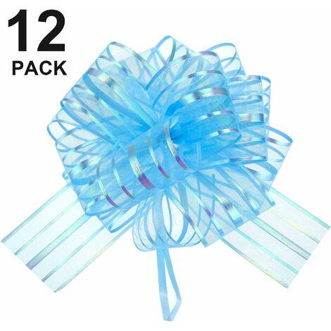 12 Pcs Pull Bow Grand Organza Pull Bow Emballage Cadeau Pull Bow Avec Ruban Pour Paniers Cadeaux De Mariage, 6 pouces de diamètre Bleu