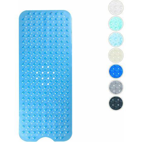 LangRay Tapis de bain antidérapant avec 200 ventouses 100 x 40 cm - Bleu Transparent - Bleu Transparent