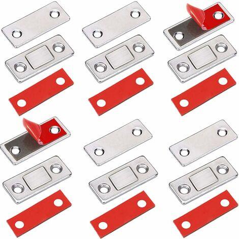 LangRay Loqueteaux Magnétiques  6 Pièces Très Mince Aimant Pour Porte de Placard à Coller Loqueteau Aimant Fermeture Adhesif Meuble Aimant Puissant pour Porte Coulissante Tiroirs Fenetre Aimanté Armoire