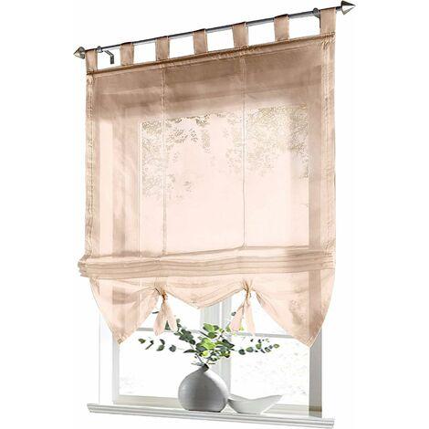 LangRay Store romain avec boucles rideaux Cuisine stores romains Rideaux transparents à boucle aveugle Voile moderne le sable LxH 60x155cm 1 pièce