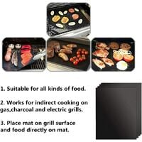 Tapis de Cuisson pour Barbecue et Four, Lot de 4 Tapis BBQ Anti-adhérent Réutilisable Nettoyable, Idéal au Gaz Charbon, 330 x 400 x 0.2 mm - Noir