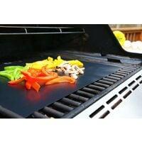 Set de 5 Tapis de Cuisson Tapis BBQ Barbecue Plaque Feuille de Cuisson Four 40 * 33cm pour Barbecue gaz Charbon électrique 100% Anti-adhérent - Noir