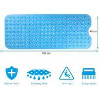 Tapis de bain antidérapant avec 200 ventouses 100 x 40 cm - Bleu Transparent - Bleu Transparent