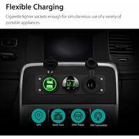 3 en 1 panneau de prise de chargeur, 12V double prise de voiture USB Prise de chargeur prise de courant et LED voltmètre numérique et adaptateur allume-cigare Splitter Adaptateur - Vert - Vert