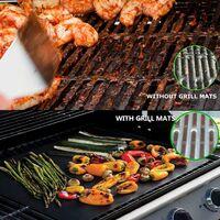 Tapis de Barbecue, Cuisson Mats, Feuilles de BBQ Anti-adhérent, Réutilisable Nettoyable, pour Fours assistés/Charbon de Bois/Gaz/Grill électrique/Cuisson - (8pcs, Noir) 33X40cm + Brosse BBQ*2(couleur aléatoire)