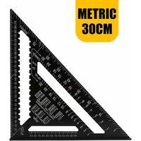 Outil de mesure d'angle d'arrêt de règle de Triangle d'alliage d'aluminium de rapporteur de Triangle professionnel métrique de 30 CM
