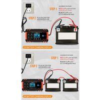 Chargeur de batterie de voiture, chargeur de batterie de voiture 8A 12V / 24V, chargeur de batterie de voiture entièrement automatique avec écran LCD Chargeur de batterie, chargeur de maintien avec protection multiple (# 1)