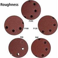 Disques abrasifs 125 mm Velcro - 100 pièces de papier abrasif pour ponceuse excentrique 8 trous chacun 20 x 60/80/100/120/240 grain papier rond excentrique 125 mm