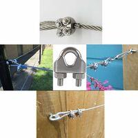 LangRay M8 Serre-câbles Etrier U Boulon Clip de Câble 304 Acier inoxydable Selle de pince de Câble Câble métallique Clips pour etendoir linge exterieur10PCS