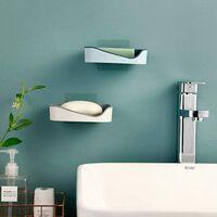 LangRay Porte-savon, porte-savon, double boîte à savon sans perçage pour douche, salle de bain, cuisine, Keep Savon Bars Dry & Clean, nettoyage facile 2 pièces (rouge)