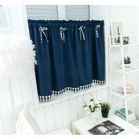LangRay Petit rideau de fenêtre court style campagnard vintage opaque disque rideaux court rideau rideau court rideau cuisine moderne à carreaux lot de 2 salon (bleu foncé 137 * 61 cm)