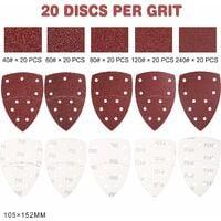 Jeu de feuilles abrasives de 100 triangles abrasifs, 105 x 152 mm│11 trous│ chaque grain 20 x 40/60/80/120/240 pour ponceuse multiple
