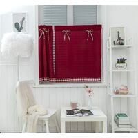 LangRay Petit rideau de fenêtre court style campagnard vintage opaque disque rideaux court rideau rideau court rideau cuisine moderne à carreaux lot de 2 salon (vin rouge 74 * 90 cm)