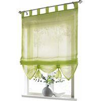 LangRay Store romain avec boucles rideaux Cuisine stores romains Rideaux transparents à boucle aveugle Voile moderne vert LxH 60x155cm 1 pièce