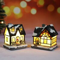 Village De Noel Lumineux, Maison De Noël Lumineuse, Village De Noël Personnage Lampe Multicolore Déco Noel Miniature Interieure (4pc Set, 4 * 6.5 * 9cm)