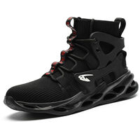 Chaussures de sécurité pour travail chaussures de travail anti-écrasement et résistantes à l'usure chaussures de protection avec bout en acier pour la construction Noir 36