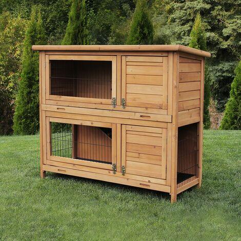 Miweba Hasenstall Hamsterkafig Kaninchenkafig Hasenkafig Kaninchenstall 2 Ebenen Braun Sdr020