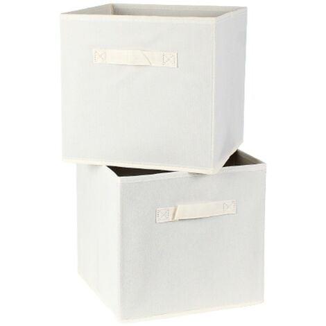 Cube de rangement intissé 28 cm - Lot de 2 - Casâme - Ecru