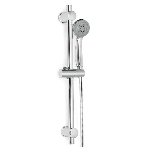 Kit Columna de ducha Cabezal de ducha Barra de ducha Soporte ajustable Baño de acero inoxidable cromado C LAVENTE