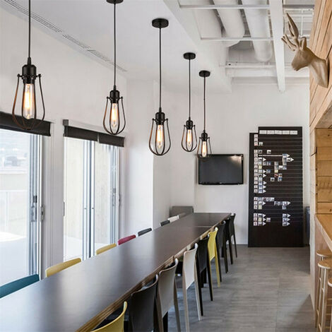 Lámpara LED retro vintage con suspensión, lámpara de techo, iluminación, jaulas de hierro