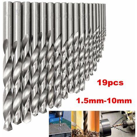 Broca HSS de 19 piezas, broca de acero de titanio de 1,5-10 mm, brocas recubiertas, cortador de fresado